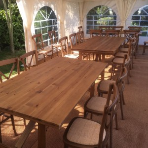 Cross back chairs around our Oak tables