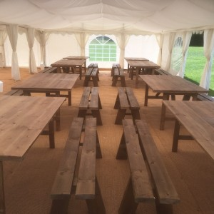 benches and Oak Table Hire